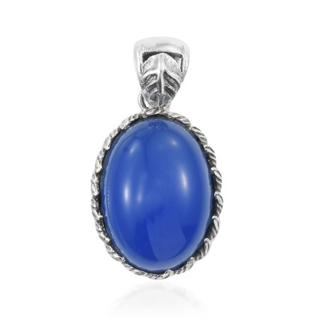 - 925 Sterling Silver Oval Blue Onyx Fashion Pendant for Women
