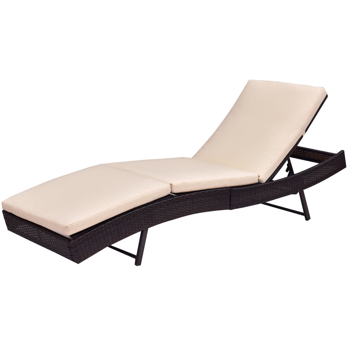 Delightful Gymax Outdoor Patio Adjustable Sun Bed Wicker Lounge Chair