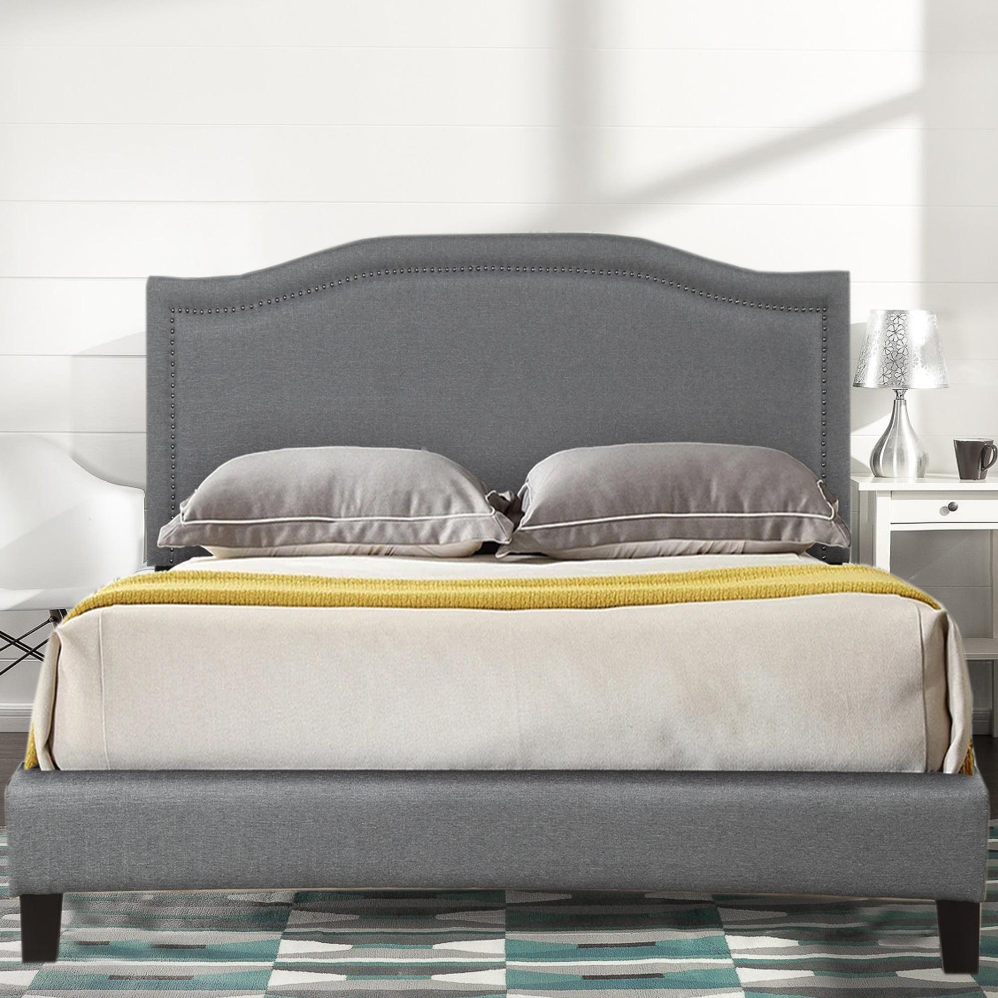 King Size Bed Frame Upholstered Wood Platform Bed Frame