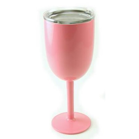 BEACH PINK Wine Glass - Double Walled Vacuum Insulated Stainless Steel 10 Ounce by True North