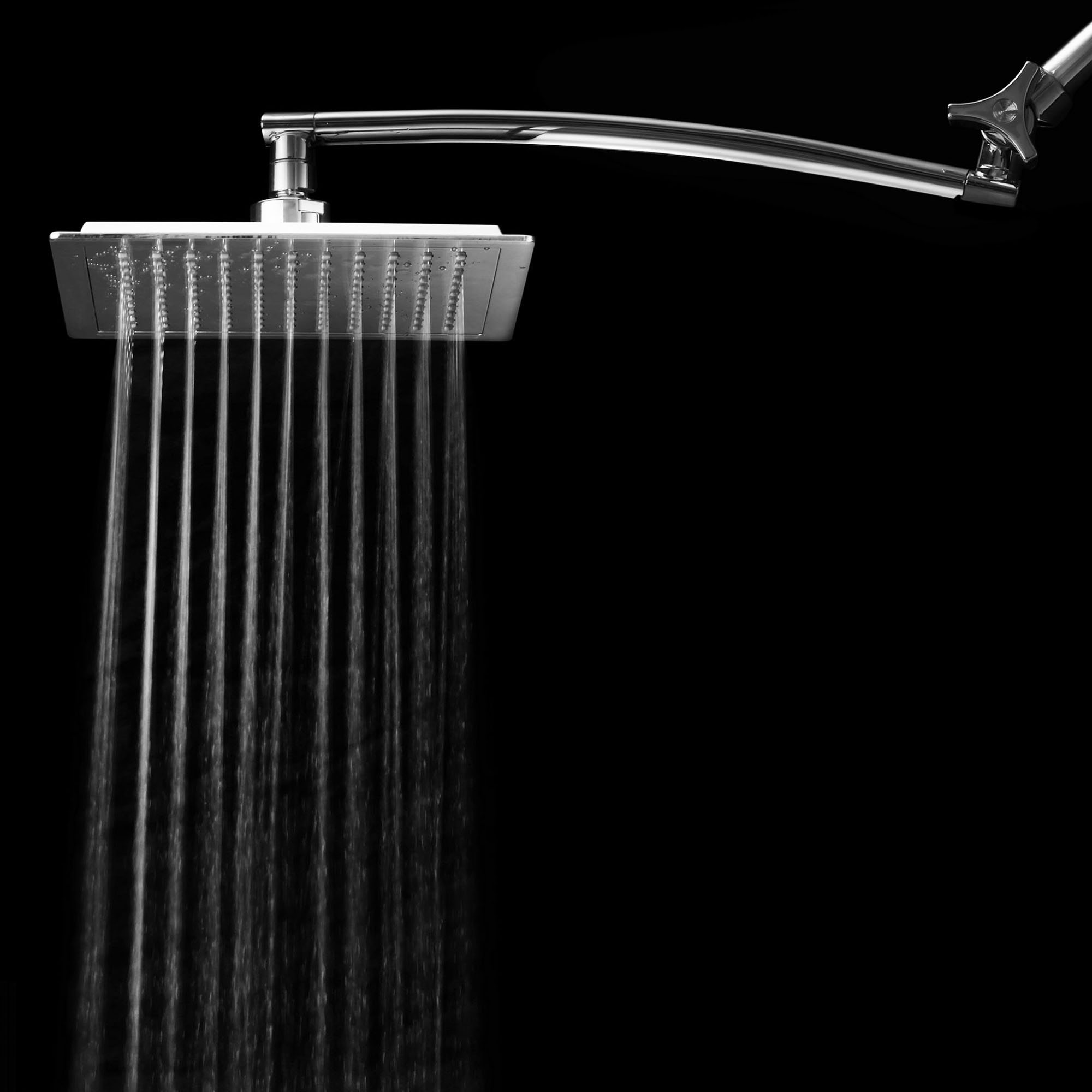 Chrome Face Square Rainfall Shower Head with Arch