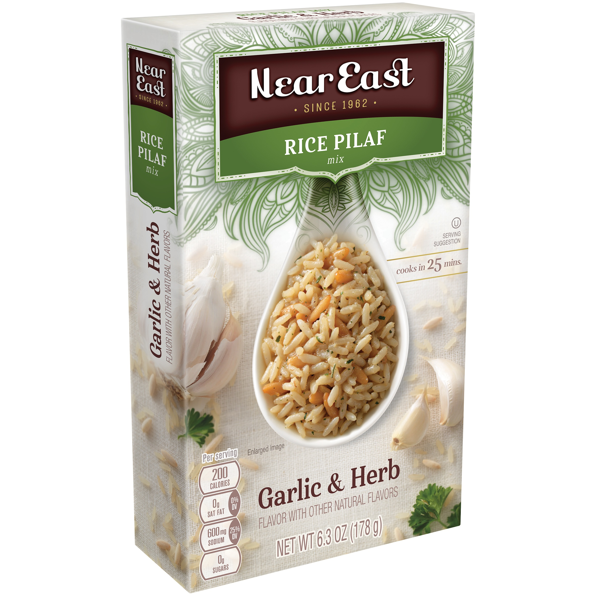 Near East Rice Pilaf Mix, Garlic & Herb, 6.3 oz. Box
