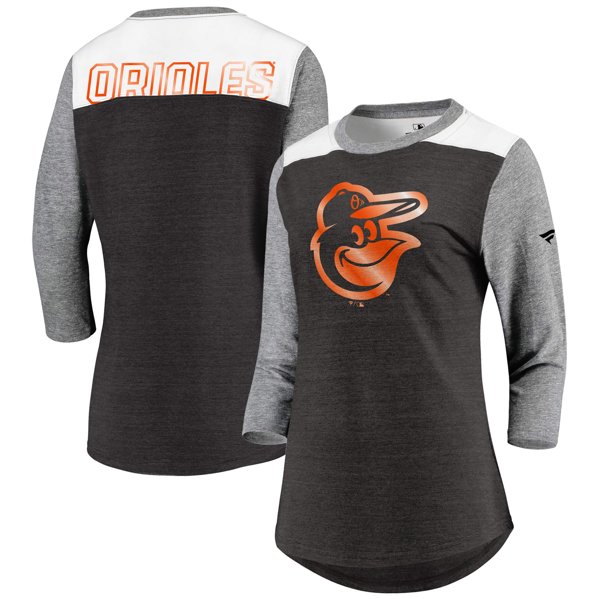 Baltimore Orioles Fanatics Branded Women's Iconic Tri-Blend 3/4 Sleeve T-Shirt - Black/Gray