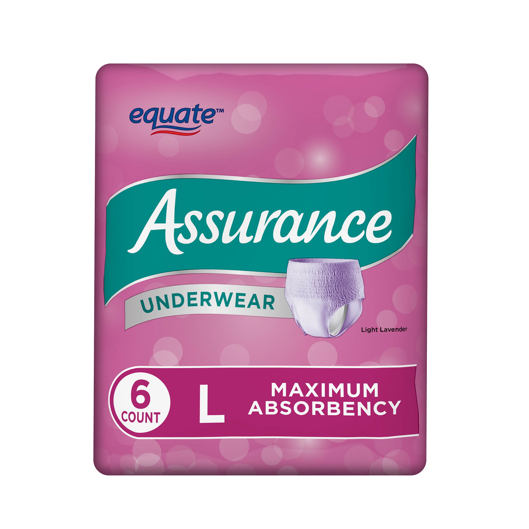 Assurance Incontinence Underwear for Women, Maximum, L, 6 Ct