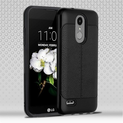 For LG Tribute Dynasty Leather Texture Hybrid Rubber Silicone Case Phone Cover (Black)