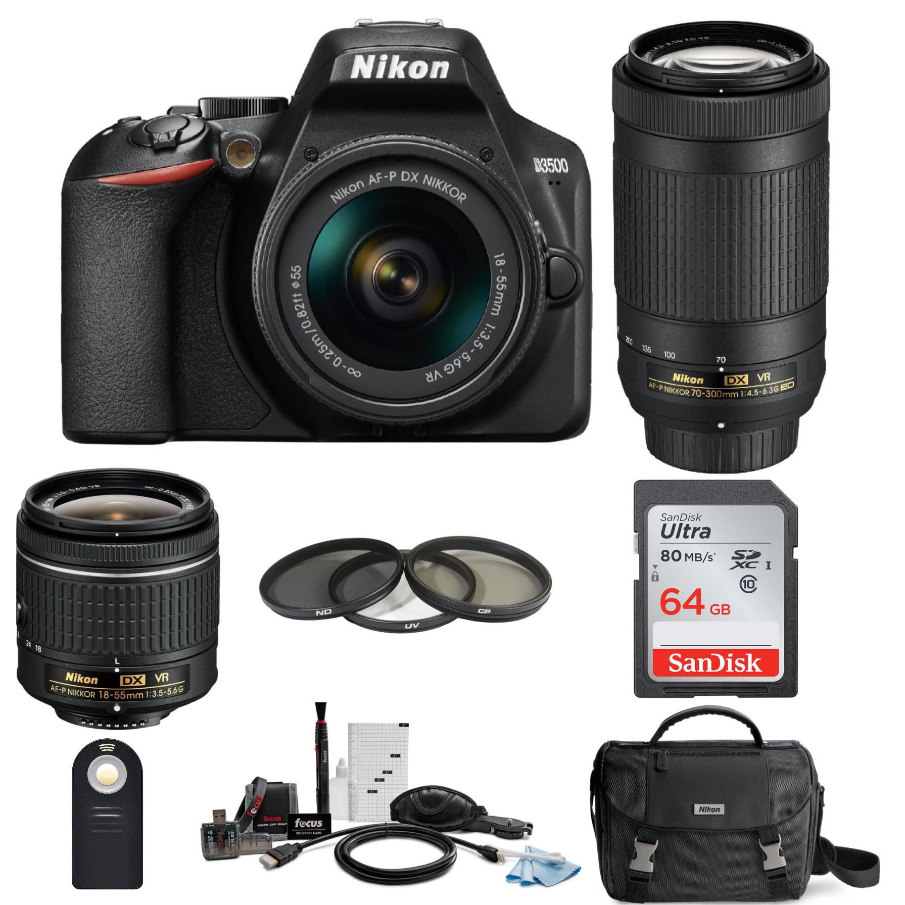 Nikon D3500 DSLR Camera with AF-P 18-55mm and 70-300mm VR Lenses and 64GB Bundle