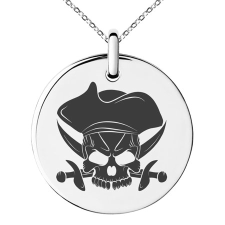 Pirate Swords Pendant (Stainless Steel Pirate Skull & Cross Swords Engraved Small Medallion Circle Charm Pendant Necklace)