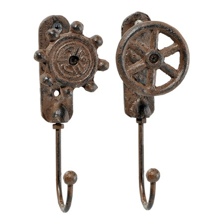 Nautical Ships Wheels Single Wall Hooks Antiqued Brown Cast Iron Set of 2