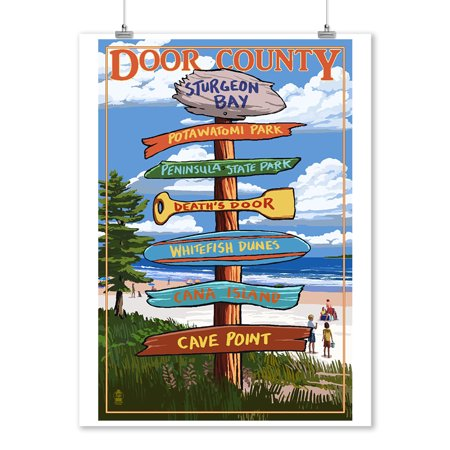 Door County, Wisconsin - Destination Signpost - Lantern Press Artwork (9x12 Art Print, Wall Decor Travel