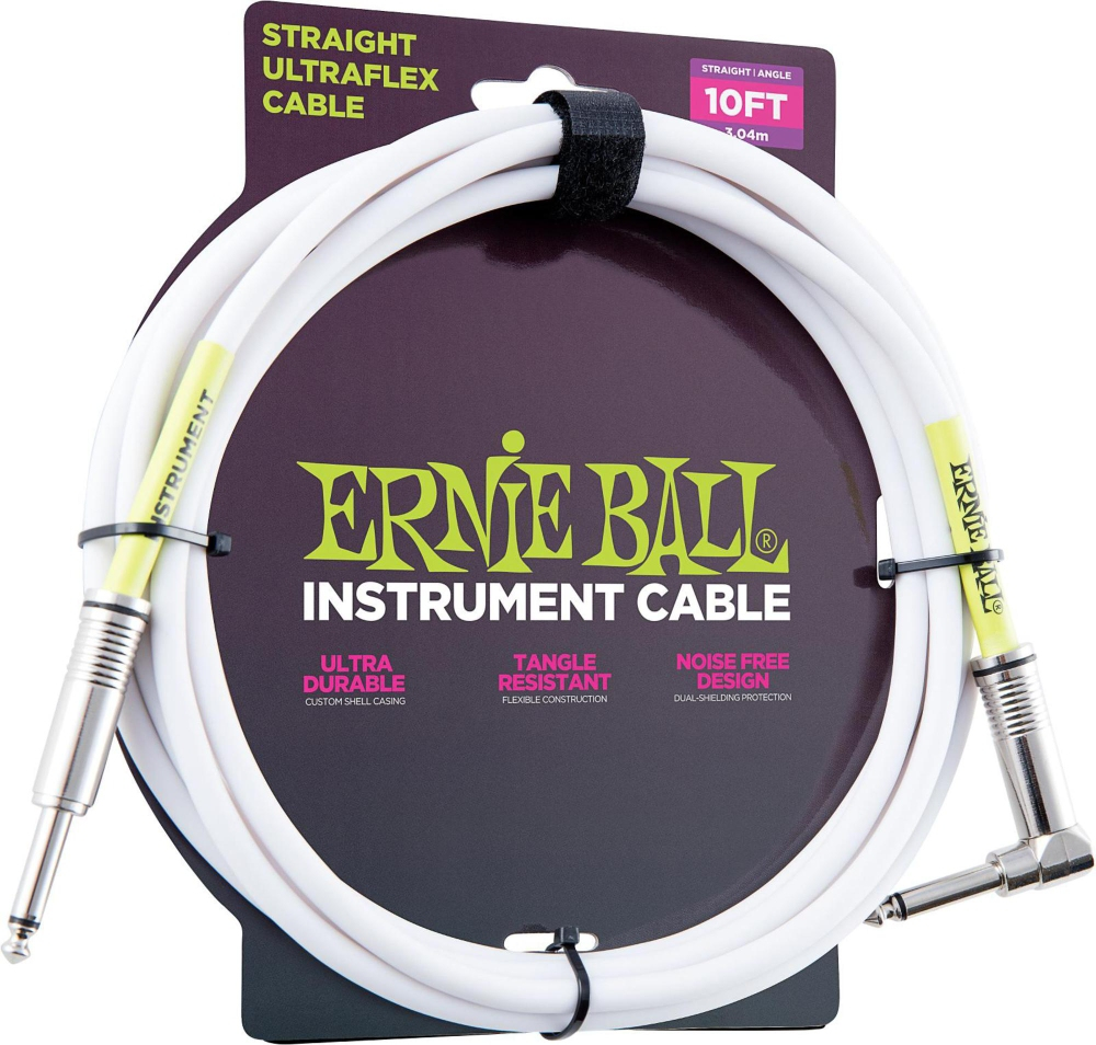 """Ernie Ball P06049 Straight//Angle 1//4/"""" White Ultraflex Instrument Cable 10 Foot"""