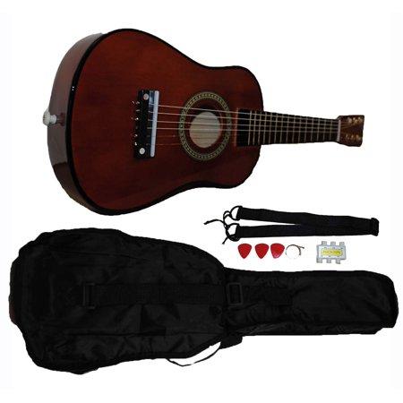 Mini Kids Acoustic Toy Guitar Kit Gig Bag + Picks + Strap + Tuner - Coffee