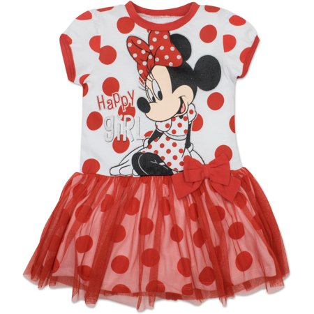 Disney Toddler Girls' Minnie Mouse Tulle Dress, White with Red Polka Dots (3T) - Minnie Mouse First Birthday Dress