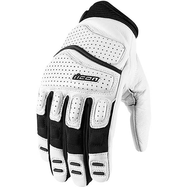 Icon Superduty 2 Leather Gloves White