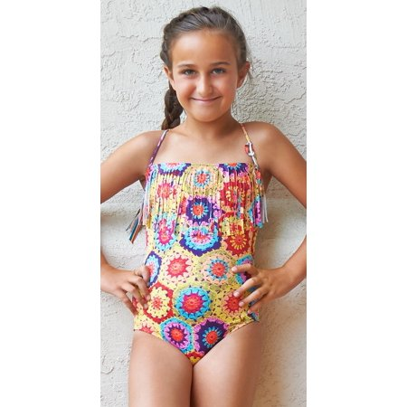 9321ef94d29 PilyQ - PilyQ Girls Crochet Fun Fringe Bandeau One Piece CRO-621P Multi / 4  - Walmart.com