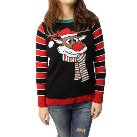 Ugly Christmas Sweater Junior's Reindeer Surprise Scarf Pullover Sweatshirt](Christmas Sweaters With Reindeer)