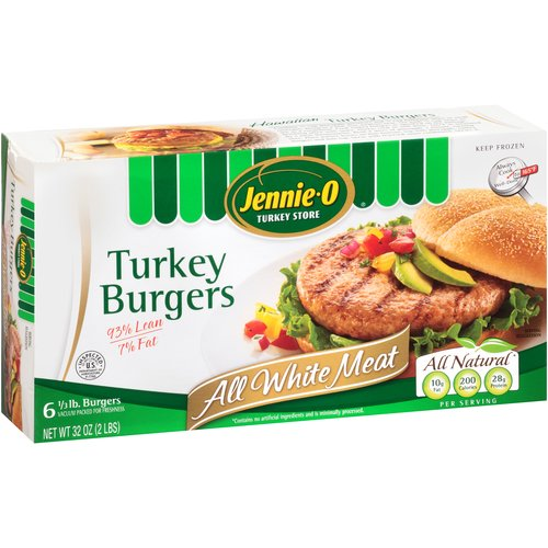 Jennie-O Turkey Store All Natural Lean White Turkey Burgers With Seasonings, 6ct