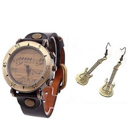 Leather Watch with Music Note Symbols and Guitar Earrings Jewelry, (Jewelry And Watches)