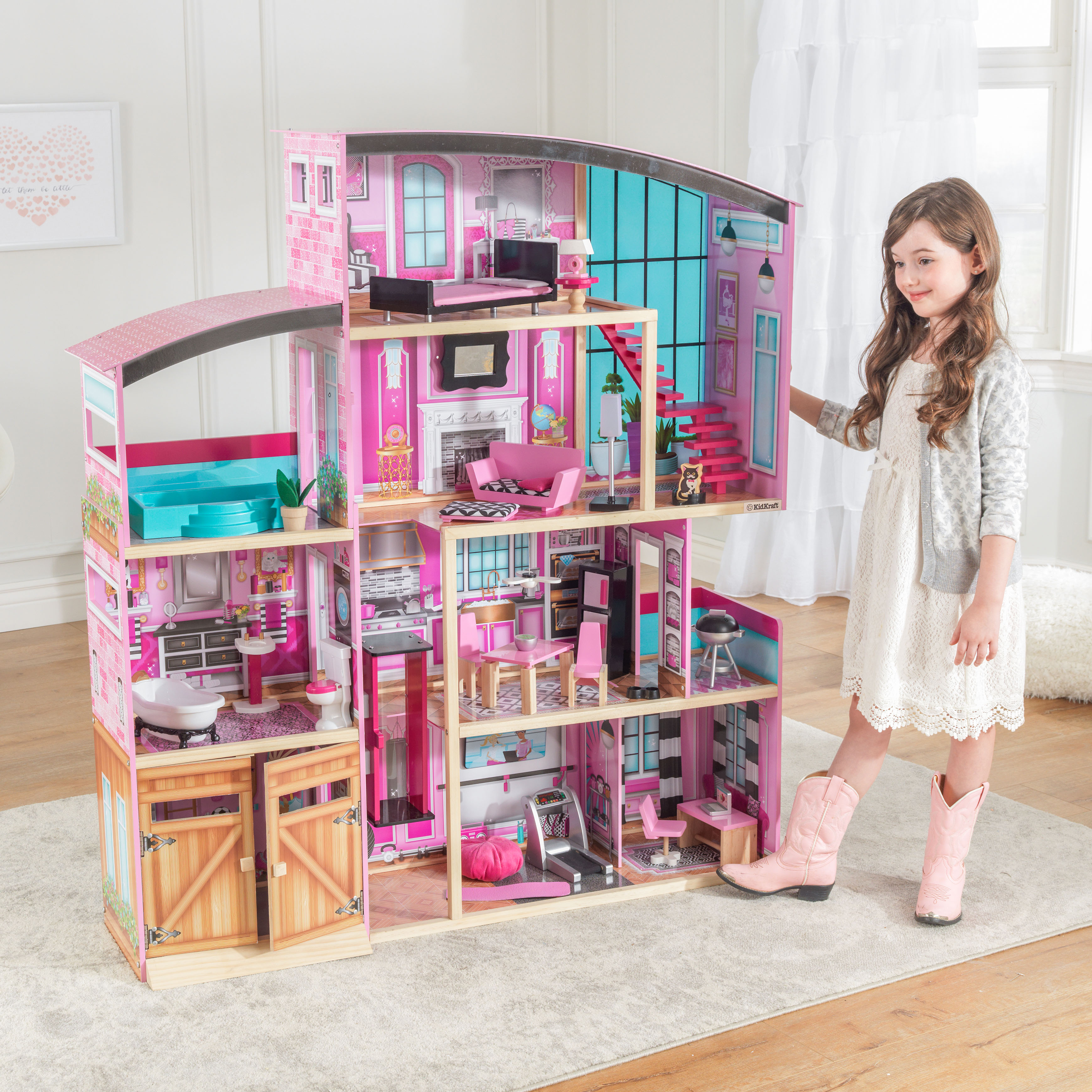 KidKraft Wooden Dollhouse Shimmer Mansion for 12 Inch Dolls