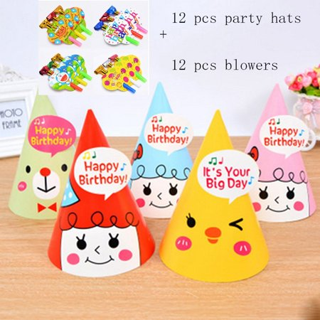 Lovely Paper Cone Birthday Party Hats For Children And AdultsFun Set
