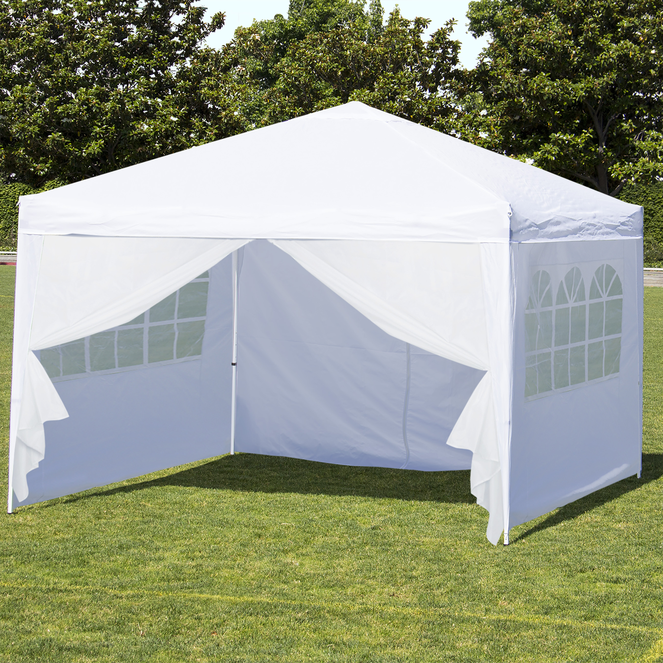 Best Choice Products 10x10ft Portable Lightweight Pop Up Canopy Tent w  Side Walls and Carrying Bag White Silver by Best Choice Products