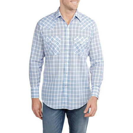 Men's Long Sleeve Easy Care Plaid Western Shirt