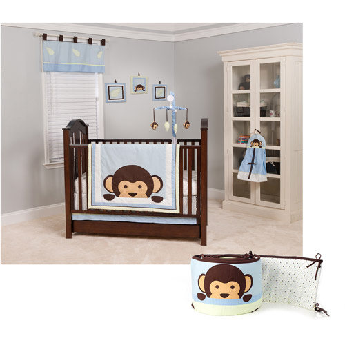 Pam Grace Maddox Monkey 11pc Nursery-in-a-Bag Crib Bedding Set with Bumper