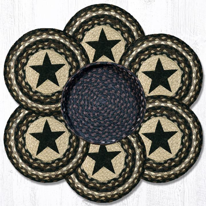 "Earth Rugs TNB-313 Black Star Trivets in a Basket 10""x10"""