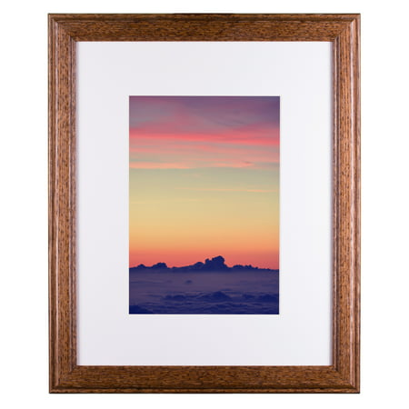 Craig Frames Wiltshire 236, Simple Brown Hardwood Picture Frame with Single White Mat - Displays a 12 x 18 Inch Print with the Mat or 18 x 24 Inch without - 12 Single Mat