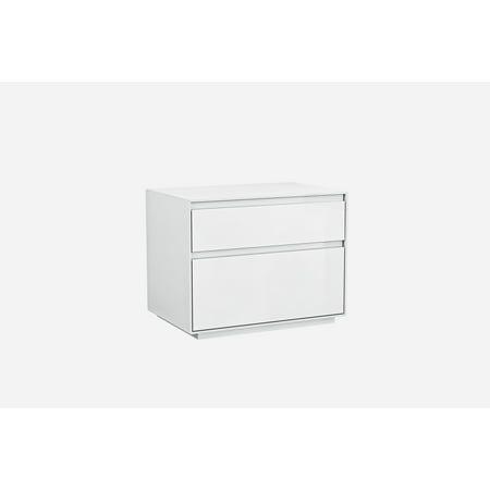 Whiteline Modern Living White Malibu Contemporary High Gloss Nightstand, Self-Close -