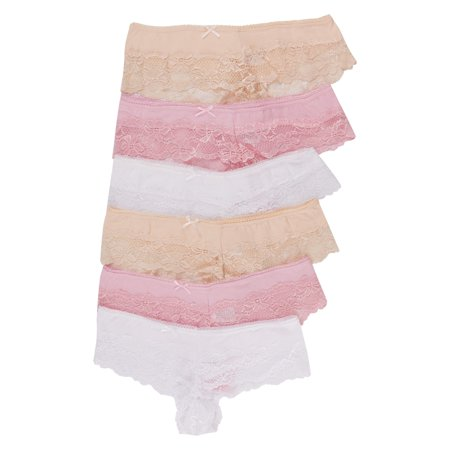 Lace Stretch Panties - Noble Mount Women's Stretch Cotton Cheeky Lace Panties - Set 1 - Small