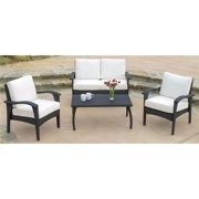 4-Pc Outdoor Wicker Seating Set in Black