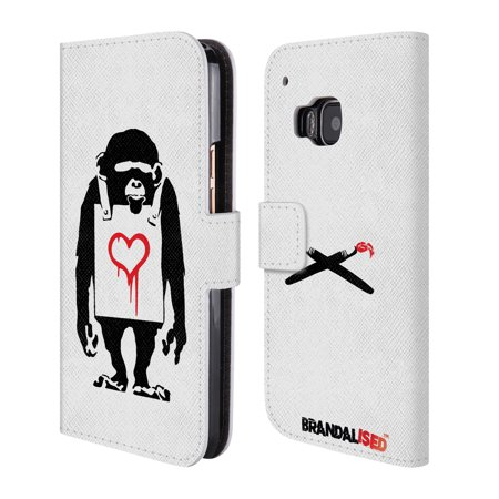 OFFICIAL BRANDALISED BANKSY RED AND BLACK STREET ART LEATHER BOOK WALLET CASE COVER FOR HTC PHONES 1