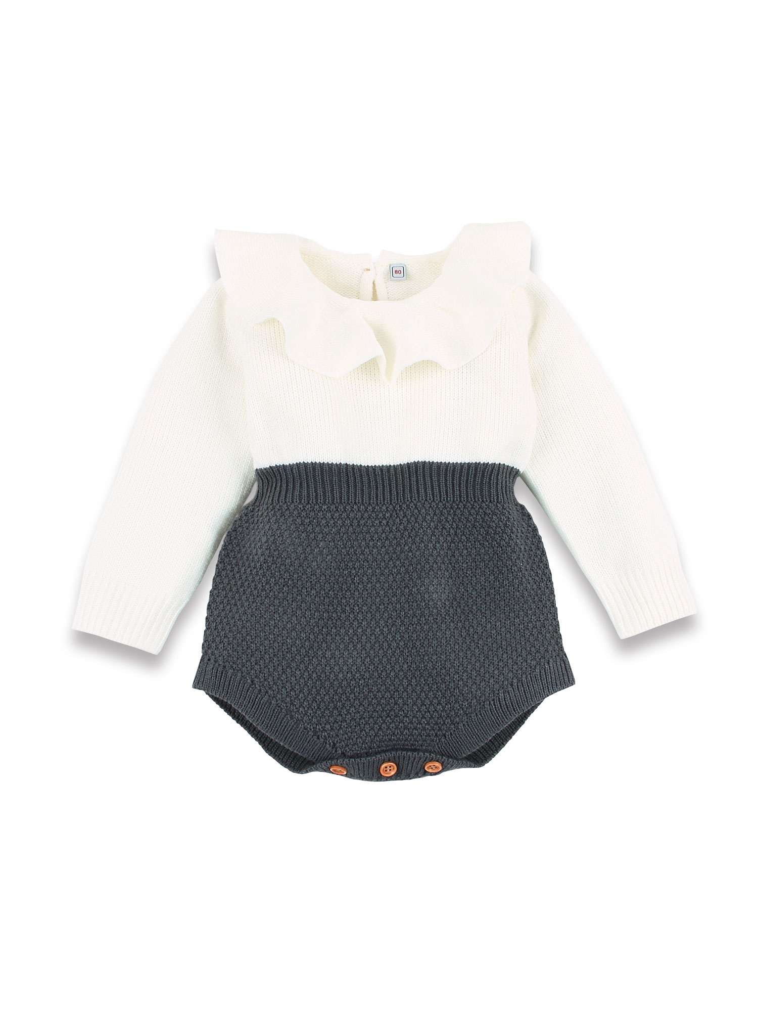 Baby Girls Romper Knitted Ruffle Long Sleeve Jumpsuit OutfitsBaby Toddler Romper Autumn Winter Casual