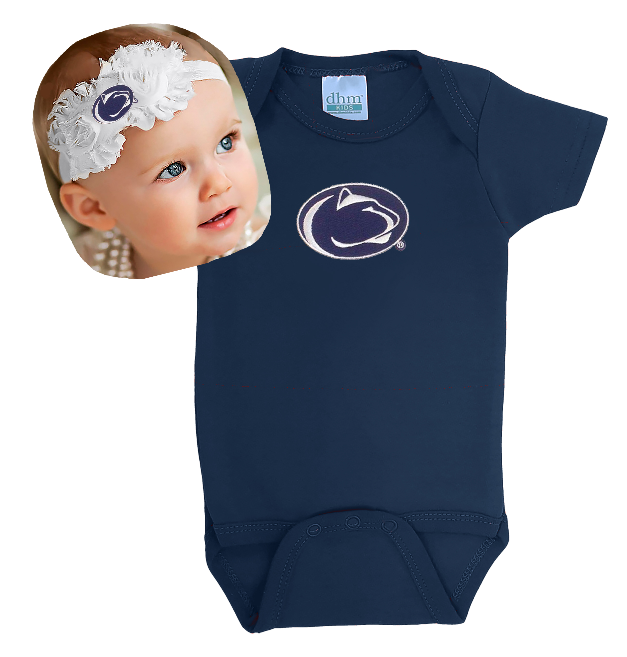 Penn State Nittany Lions Baby Bodysuit and Shabby Flower Headband Set