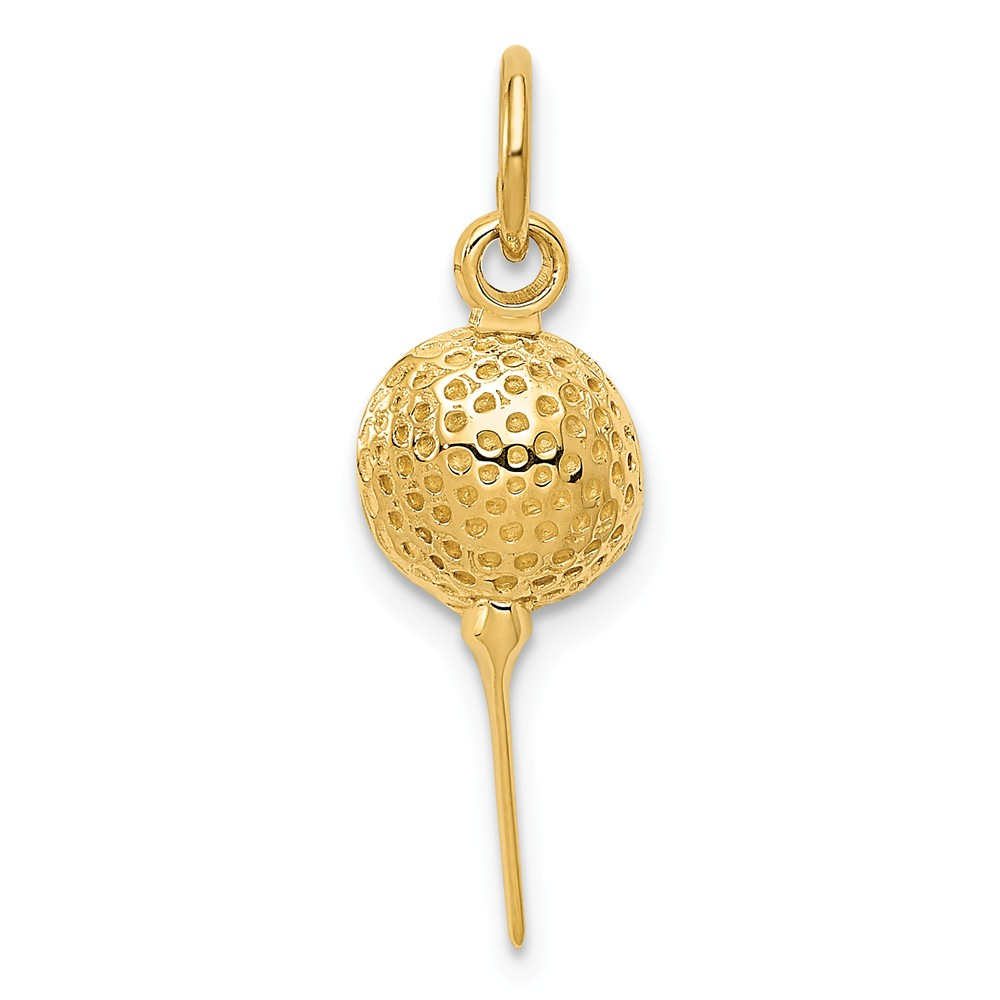 14k Yellow Gold Golf Ball Charm Pendant