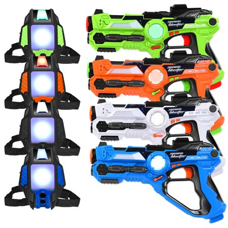 Set of 4 Laser Tag Gun Blasters and Vests 4 Player Laser Battle Kids and Adults