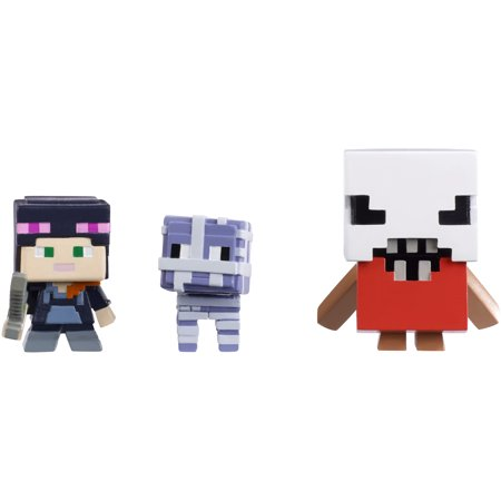 Minecraft Mini Figure Halloween Series 3-Pack Alex w/Hoodie, Mummy Sheep, and Bedlam - Halloween Roller Coaster Minecraft