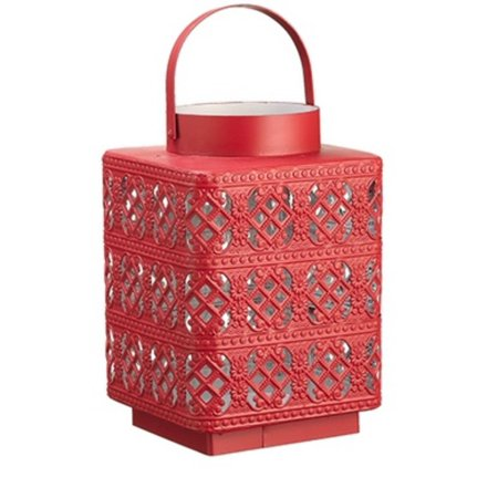 "10"" Alpine Chic Red Metal with Glass Diamond Lattice Hurricane Candle Holder"