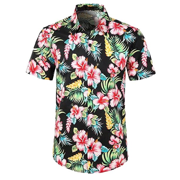 Men's Boy Short Sleeve Hawaiian Shirts Summer Beach Holiday Fancy Floral Tops