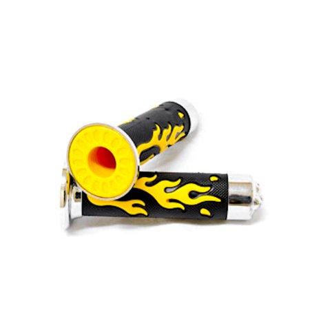 ATV / PWC Chrome Skull Hand Grips Yellow Flame Set For Honda Rancher - image 2 de 5