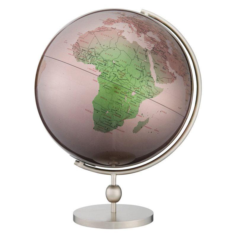 Valencia 12 Inch Globe in Magenta & Green Metallic w Modern Base
