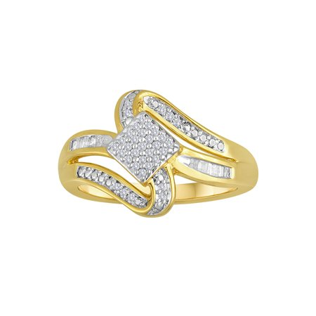 1/6 Carat T.W. Diamond 14kt Gold-Plated Sterling Silver Ring