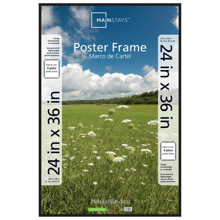 Mainstays 24x36 Thin Poster and Picture Frame, Black Dub Picture Frame Color
