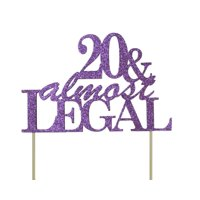 All About Details Purple 20 & Almost Legal Cake Topper,1pc, 20th birthday, glitter topper