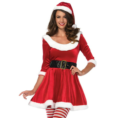 Santa Sweetie Costume Velvet Dress, Belt and Santa Hat, Small/Medium, - Biker Santa Costume