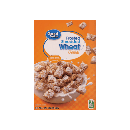 (2 Pack) Great Value Frosted Shredded Wheat Cereal, 24