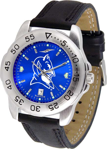 "Duke Blue Devils NCAA AnoChrome ""Sport"" Mens Watch (Leather Band)"