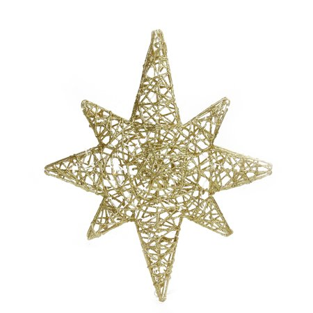 "20"" LED Lighted Gold 3D Star of Bethlehem Hanging Christmas Decoration"