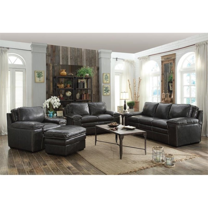 Coaster Regalvale 3 Piece Leather Sofa Set In Two Tone Charcoal