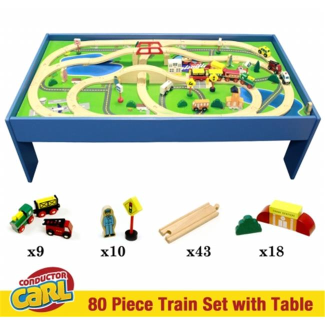 Brybelly TCON-202 Conductor Carl 80 Piece Wooden Train Set with Table